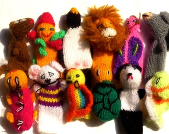 100 Hand Knit Finger Puppet  - Zoo - Handmade Peru Toy