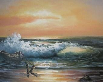 Original Painting of Ocean Shore at Sunset