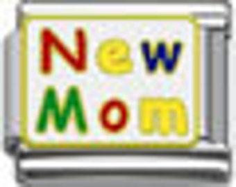 New Mom, 9 mm, modular Italian Charm, soldered, stainless steel,