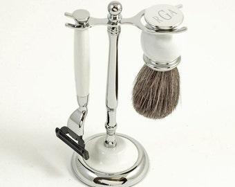 Men's Porcelain Style 3 PC Shaving Set - Super Groomsmen Gift