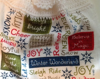 Christmas Words Crochet Top Towel  (C1)