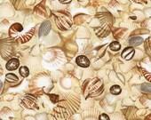 Landscape Scenes: Seashells Cotton Fabric! [Choose Your Cut Size]