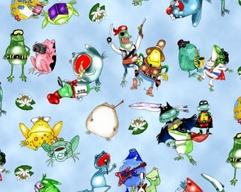 On a Lark Cotton Fabric by Elizabeth's Studio! Whimsical Frogs & Cows! [Choose Your Cut Size]