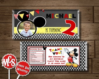 MICKEY MOUSE CANDY Wrapper, Mickey Mouse, Candy Bar Wrapper, Mickey Mouse Printable, My Celebration Shoppe, Chalkboard, Custom Wrapper, Dot