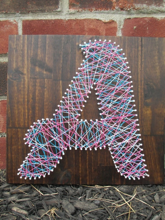 Diy Wall Art Name : Items similar to string art name word nail and