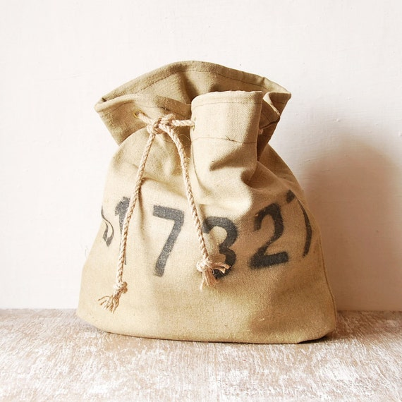 Burlap post office bag vintage mail sack cottage chic decor for Decorative burlap bags