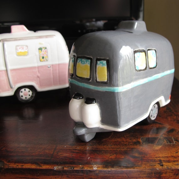Ceramic Bank Vintage Caravan Airstream Trailer By Retrobrenda