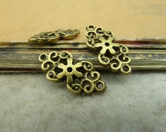 50pcs 9x18mm Antique Bronze Flower Slice Connectors Charms Pendants Jewelry Accessories Wholesale AC4913