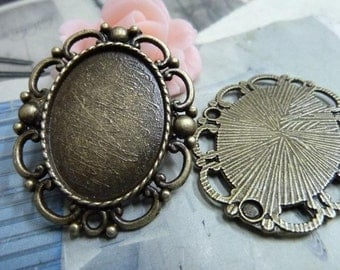 10pcs 20x28mm Antique Bronze Oval Bezel Cup Cabochon Mountings Jewelry Findings Wholesale AC1856