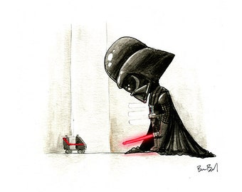 Darth Vader Watercolor Print