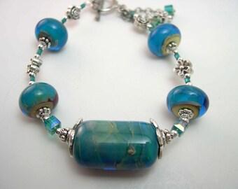 Lampwork Bracelet, Handmade lampwork beads, Turquoise bracelet, Lampwork Glass Bracelet.