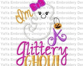 Halloween Applique Glittery Ghost Applique Halloween embroidery design