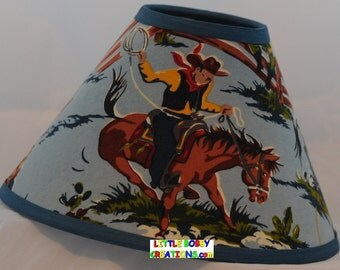 Cowboy lamp shade etsy western cowboy rodeo horse fabric lamp shade mozeypictures Gallery