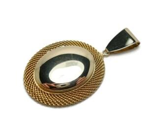 Vintage Gold Locket - Gold Mesh Design Pendant- Oval Shaped Locket