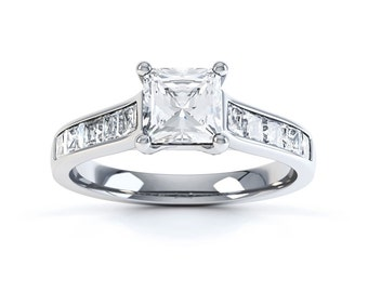 Adorn 18ct White Gold Princess Solitaire Diamond Engagement Ring 0.5ct