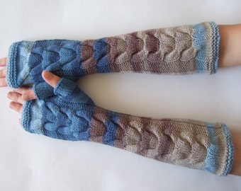 SALE: MULTICOLOR ( blue, brown, beige ) fingerless gloves, wrist warmers, fingerless mittens. Handmade, knitted of pure WOOL.