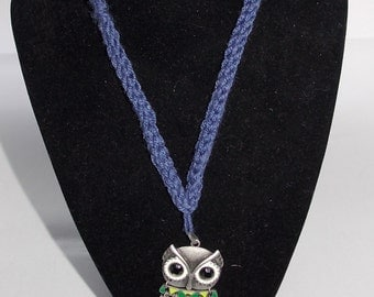 Knitted Owl Charm Necklace