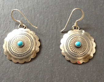 Native American Navajo Sterling Silver Turquoise Concho Earrings