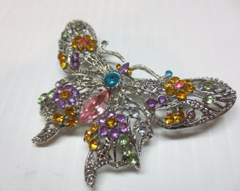 Beautiful Colorful Butterfly Brooch Silver Tone