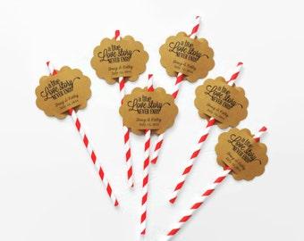 Scalloped Wedding Straw Tags, 24 Tags, Wedding Table Favor, Personalized Wedding Favor, Custom Wedding Tags, Vintage, wedding favors