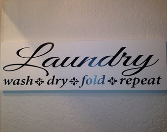Laundry Room Rules Wood sign wall hanging