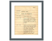 Pride and Prejudice by Jane Austen - Library Card Art Print - Book Lovers Poster - Library Poster - Book Gift - Dewey Decimal System