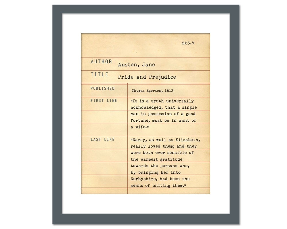 pride and prejudice by jane austen library card art print 128270zoom