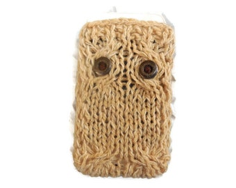 Cream Owl iPhone Case, Cozy cellar phone cover, Knit Dress
