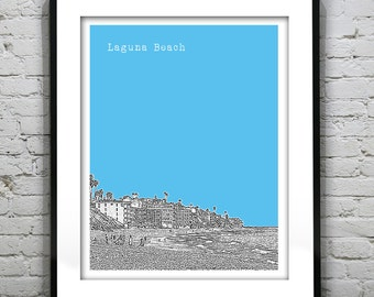 Laguna Beach California Poster Art Skyline Print CA