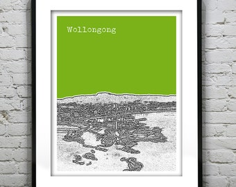 Wollongong Poster Australia Skyline Poster Print New South Wales Art Version 2