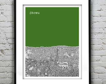1 Day Only Sale 10% Off - Stowe Vermont VT Skyline Poster Art Print Version 1