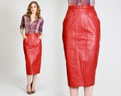 vintage 80s LEATHER red pencil Skirt S fitted midi genuine real lipstick