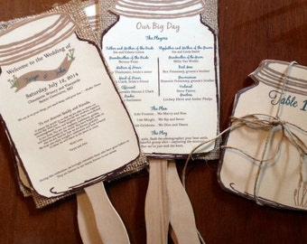 Gold and Teal Rustic Burlap Wedding Programs fans AND Table numbers -100 fan
