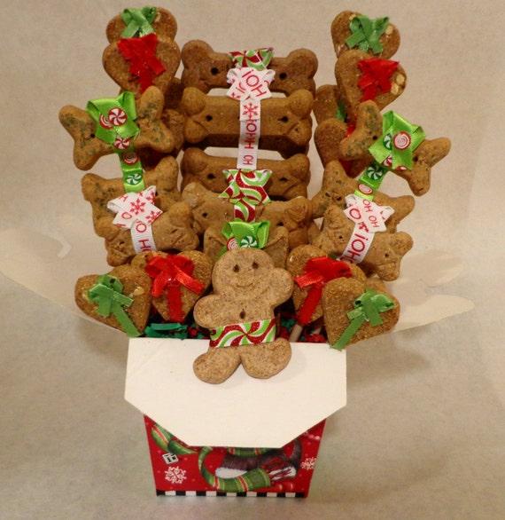 Etsy Dog Gift Baskets : Items similar to christmas dog biscuit treat gift basket