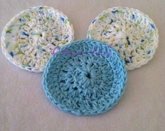 Make Up Removal Pads Cotton Face Scrubbers Handmade Scrubbers Green White Blue Yellow