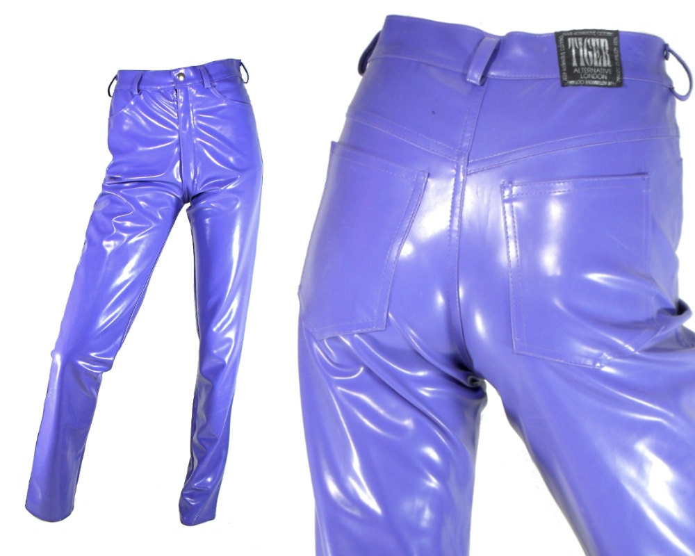 High waisted pants 30 vinyl rubber faux leather by findsallkinds
