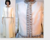Vintage Ruth Chagnon 1960s dress with jeweled jacket, Large size designer gown, Ivory dress