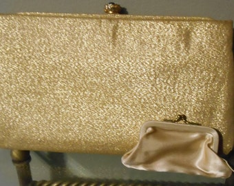 Vintage 60's-70's Gold Satin Clutch With Matching Coin Purse