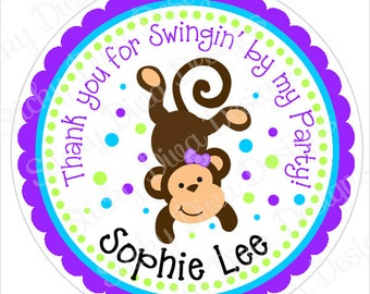 PERSONALIZED STICKERS - Adorable Monkey Girl Sticker Labels - Round Gloss Labels or Tags