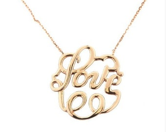 gold vermeil love necklace.gold over vermeil sterling silver pendant, love jewelry, fantasy jewelry