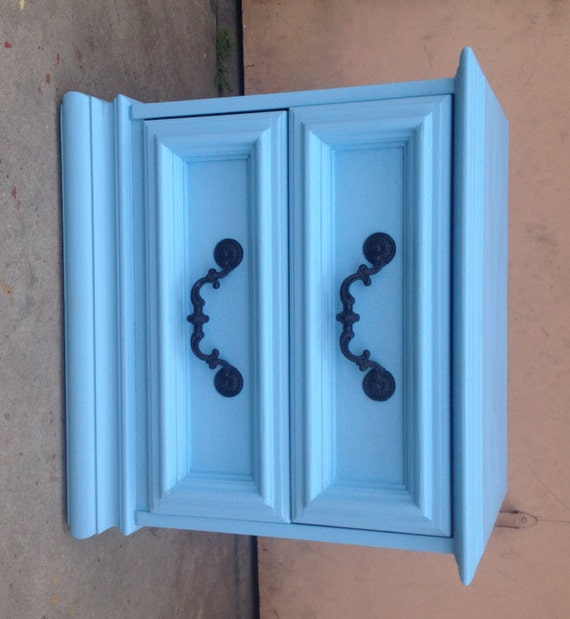 Pastel Side Table ~ Pastel blue nightstand end table side by