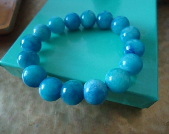 bright blue boho glass beads bracelet