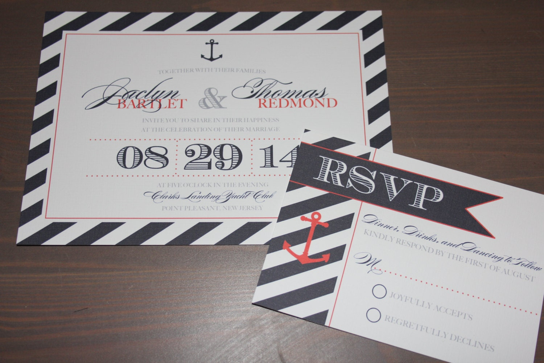 Sailboat Wedding Invitations: Nautical Wedding Invitations Navy Blue And Red Anchor