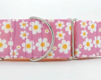 Pink Daisy's Dog Collar (Martingale, Buckle or Tag)
