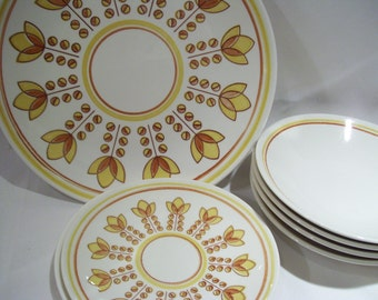 12 Pieces Retro Ironstone Yellow Tulips Set of four includes 4 Dinner Plates,4 Bread Plates and 4 Cereal Bowls