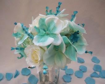 Tristan's Bridal Bouquet, Hydrangeas, Turquoise Orchids,White Roses, White Orchids