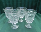 Vintage Fostoria American Water or Wine Goblet Depression Era Glassware, set of Four