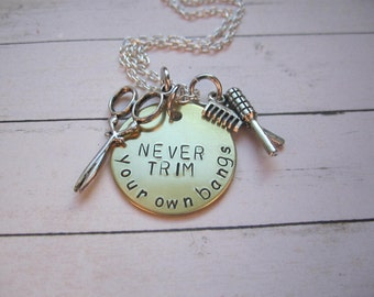NEVER trim your own bangs cosmetology necklace with shears and comb charms, cosmetology necklace, hair stylist , necklace with shears