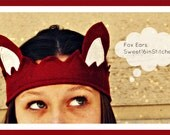 Red Fox Ears - Crown - Costume - Kids - Adult - MADE TO ORDER