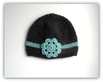 Hand Crochet Women's Winter Hat, Boyfriend Beanie, Snow Hat, Flower, crochet cap, cute girls hat, flower hat, christmas, custom